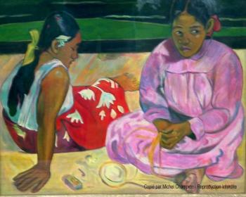 Reproduction tableau de Paul Gauguin : tahitiennes sur la plage
