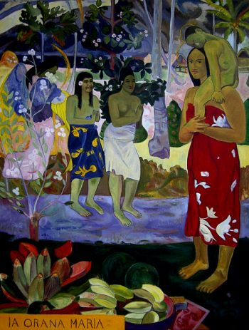 Reproduction tableau de Paul gauguin, ia orana maria